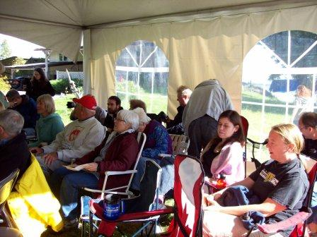 photo of listeners in the telling tent
